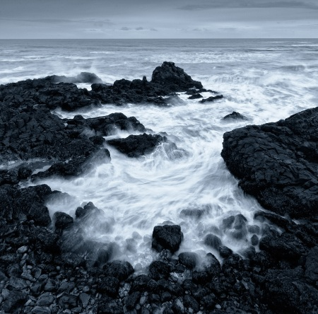 Waves Over Lava Rock - Iceland